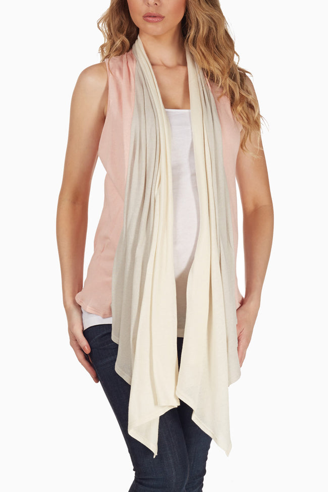 Pink Beige Layered Maternity Vest