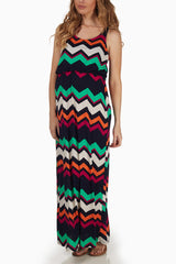 Orange Magenta Green Chevron Print Maternity Maxi Dress