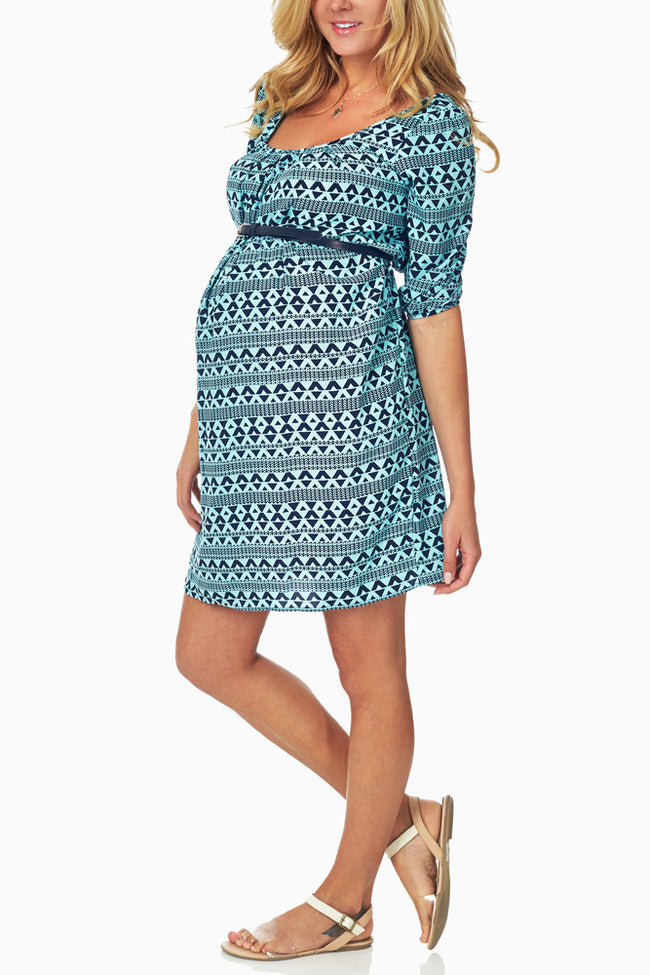 Mint Green Navy Print Belted Maternity Dress