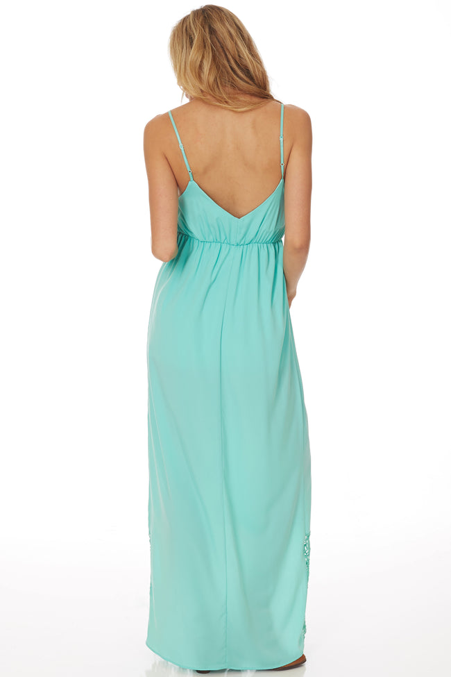 Mint Green Crochet Trim Maxi Dress
