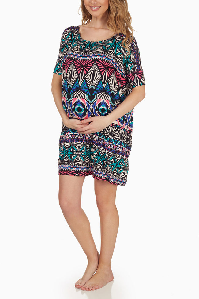 Multi-Colored Printed Maternity Sleep Shirt