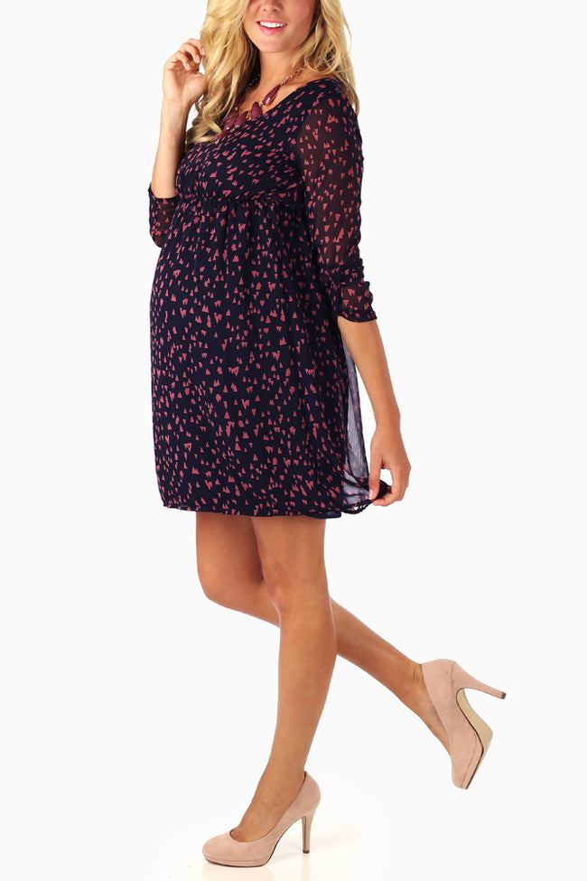 Navy Coral Triangle Print Maternity Dress