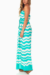 Mint Green White Chevron Strapless Maxi Dress
