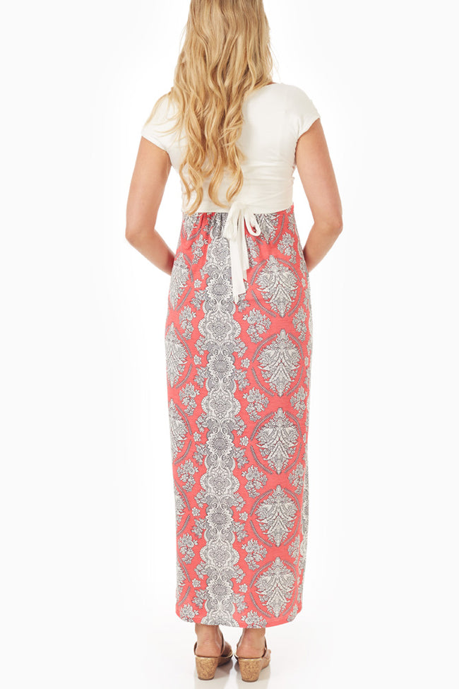 Pink Paisley Colorblock Maternity/Nursing Maxi Dress