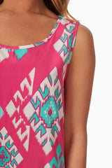 Pink Jade Tribal Print Tank Top