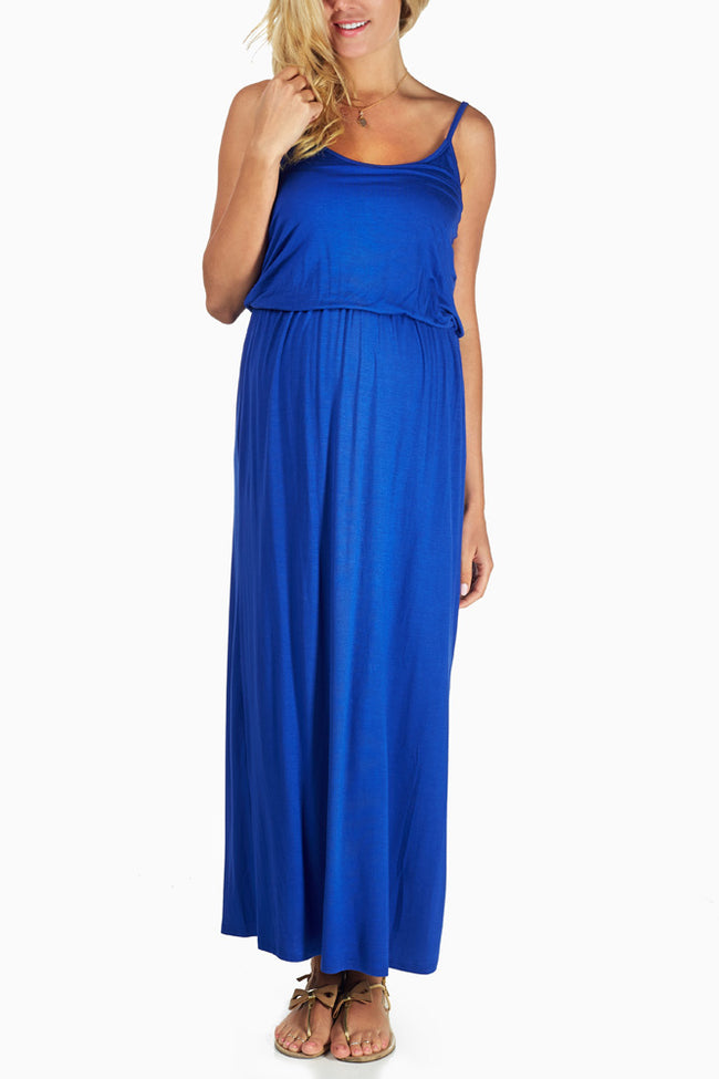 Blue Maxi Maternity Dress
