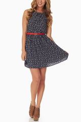 Navy Blue Print Belted Dress