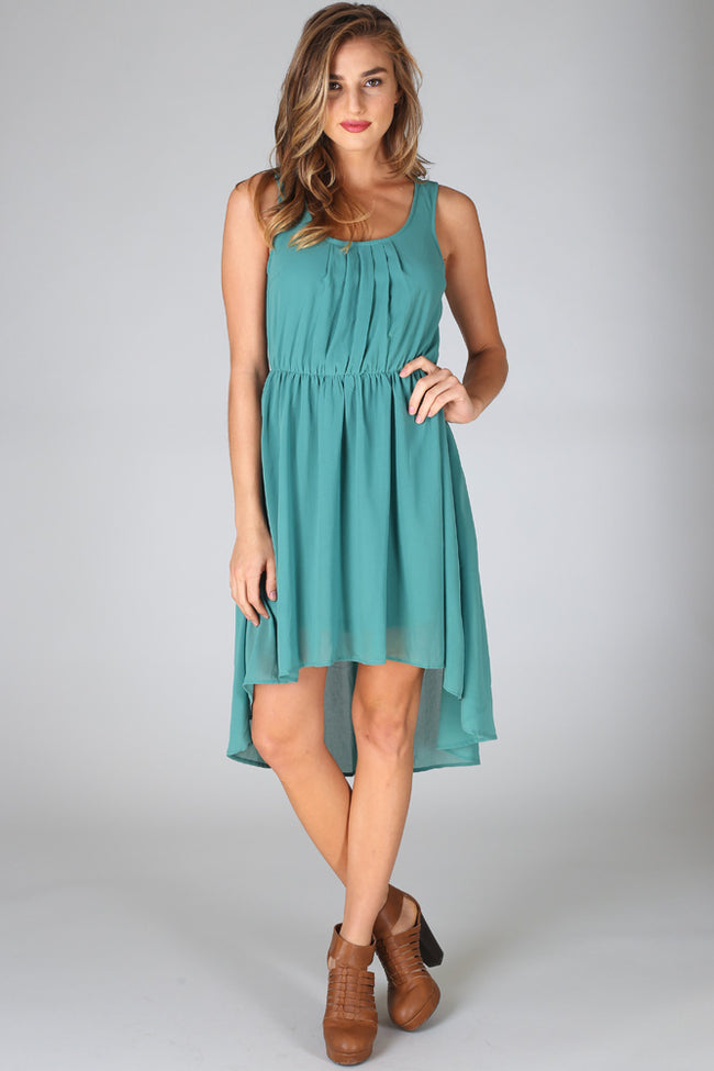 Green Flowy Hi-Low Dress