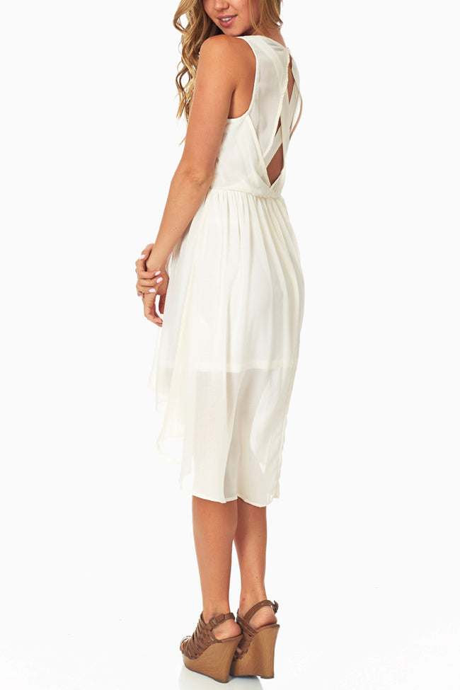 Ivory Flowy Hi-Low Dress