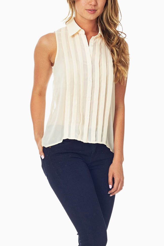 Cream Pleated Tank Top