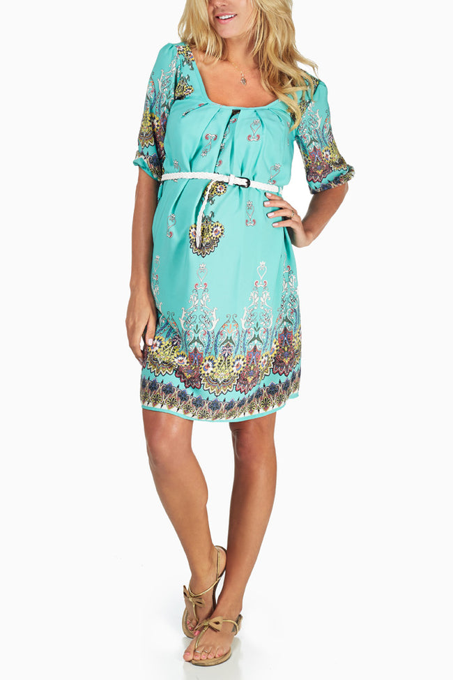 Mint Green Paisley Print Belted Maternity Dress
