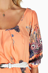 Peach Paisley Print Belted Maternity Dress