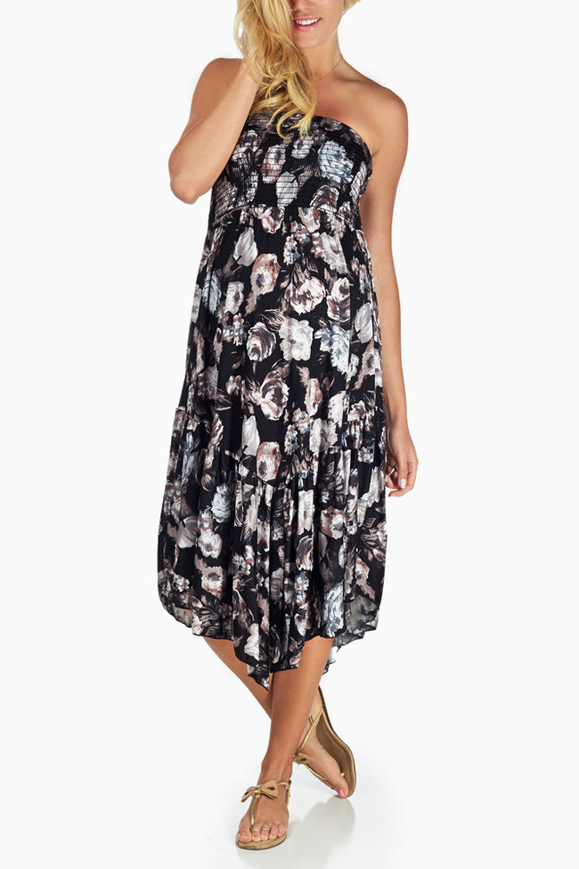 Black Floral Printed Strapless Maternity Dress