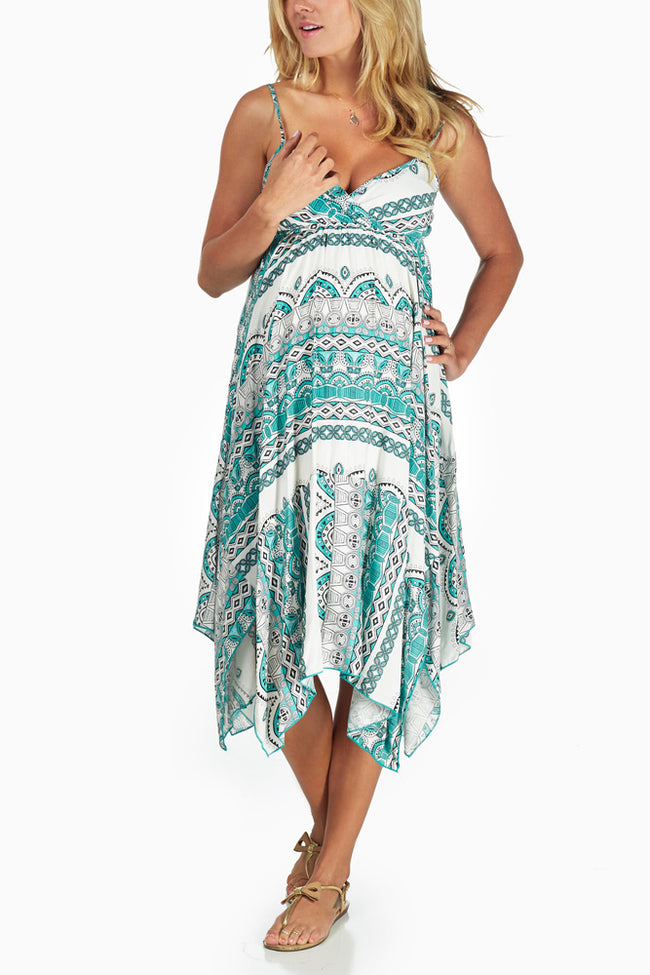 Mint Green White Print Flowy Maternity Dress