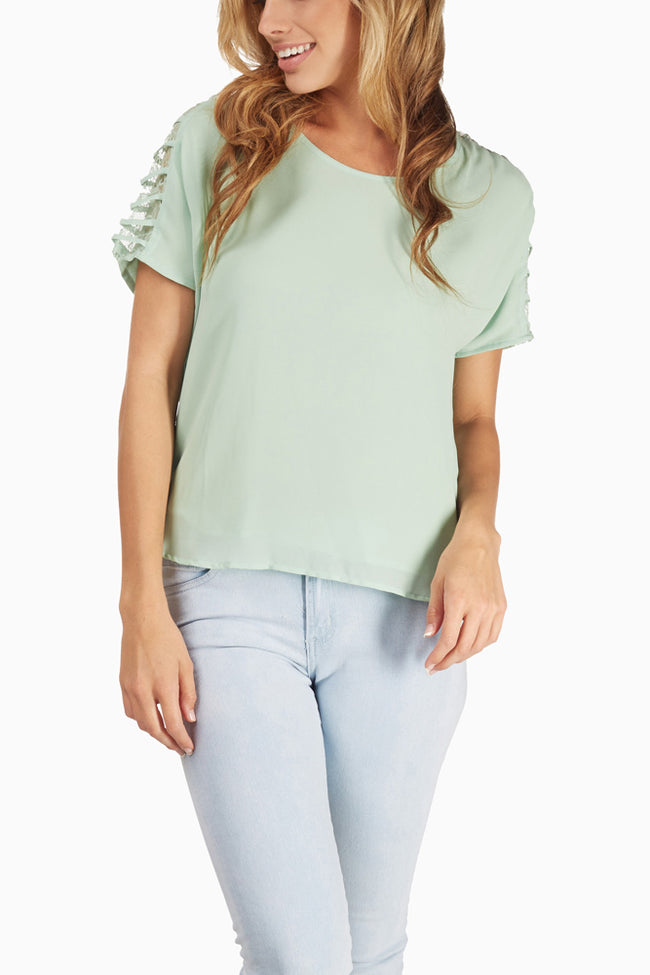 Mint Green Lace Sleeve Blouse