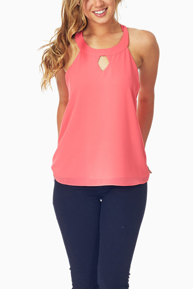 Coral Open Back Tank Top