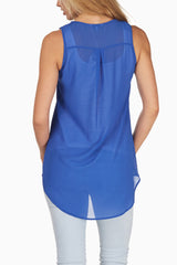 Blue Zipper Front Tank Top
