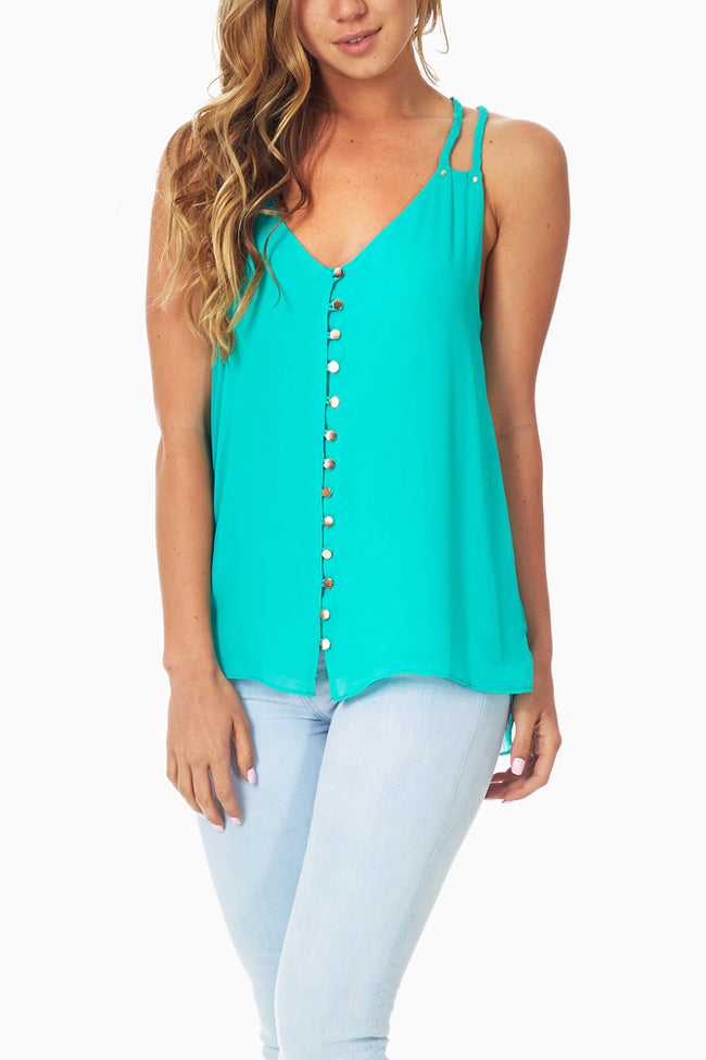 Green Open Back Button Up Tank Top