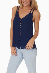Navy Blue Open Back Button Up Tank Top