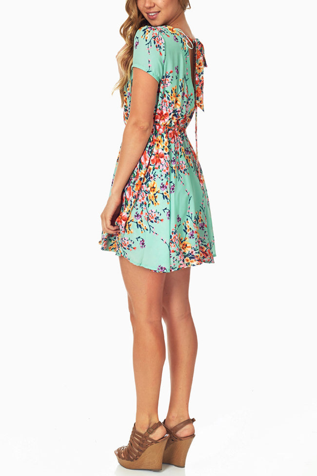Mint Green Floral Open Back Dress
