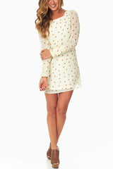 Ivory Polka Dot Chiffon Dress