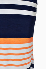 Navy Blue Orange Striped Maternity Maxi Skirt