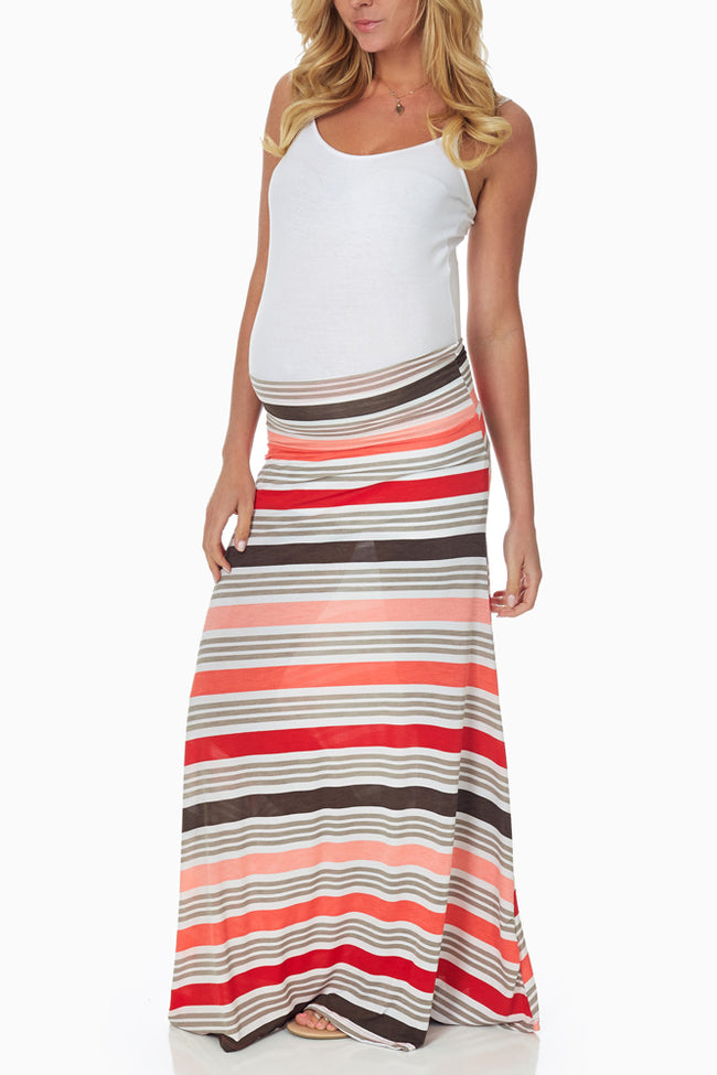 Coral Grey Striped Maternity Maxi Skirt
