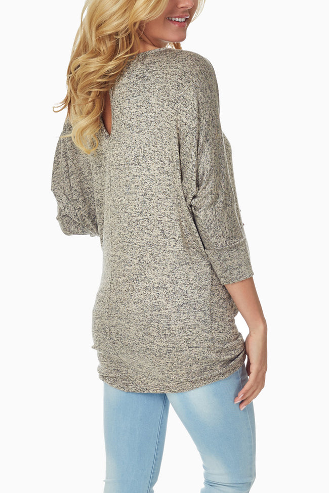 Taupe Heathered Knit Maternity Top