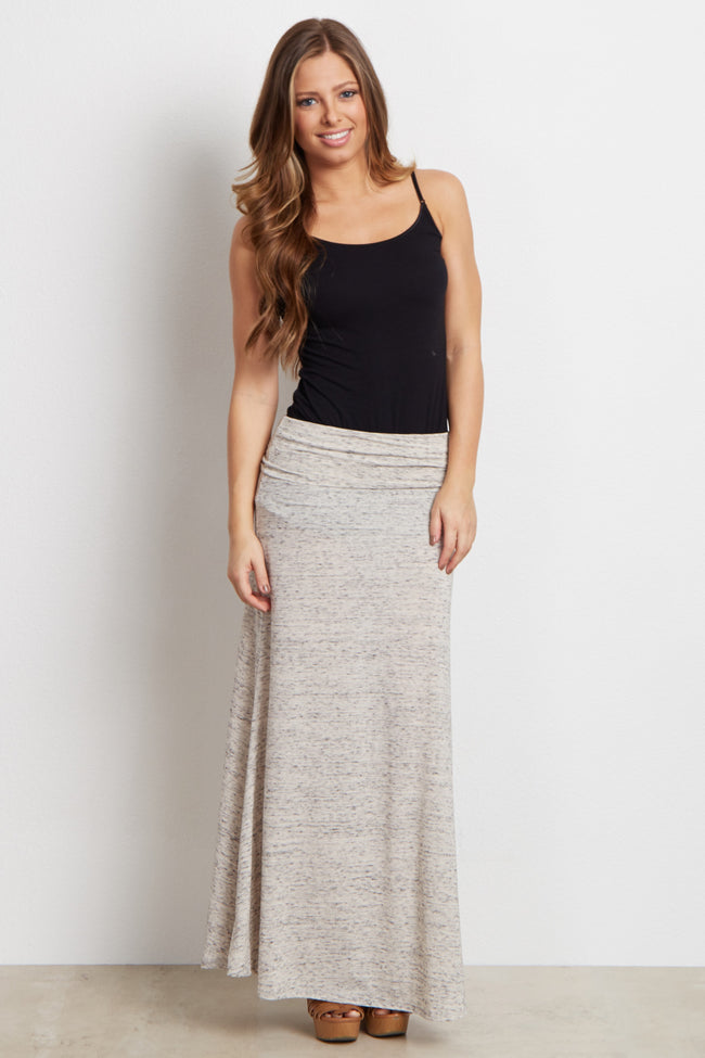 Beige Heathered Maternity Maxi Skirt