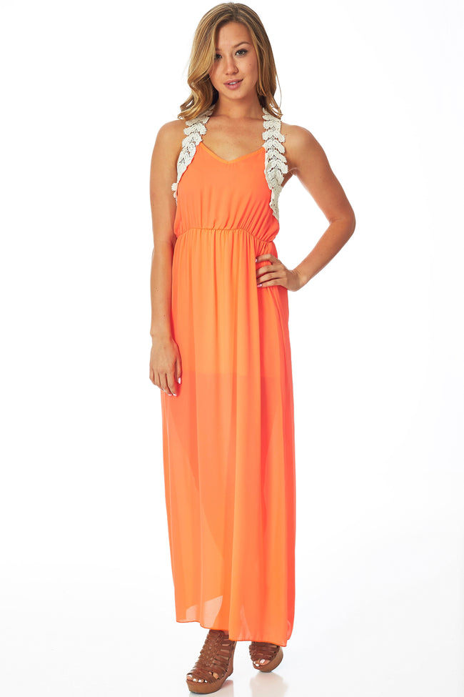 Neon Orange Chiffon Crochet Back Maxi Dress