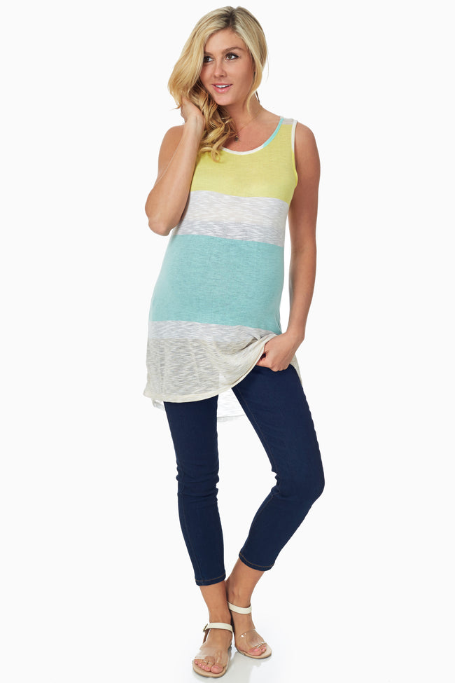 Yellow Green Beige Colorblock Maternity Tank