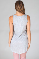Light Grey Lace Neckline Tank Top