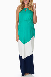Green White Navy Blue Colorblock Maternity Maxi Dress