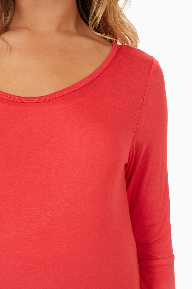 Red 3/4 Sleeve Maternity Shirt