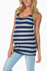 Navy Blue Grey Racerback Maternity Tank Top