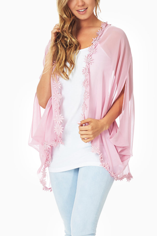 Pink Sheer Crochet Trim Cardigan