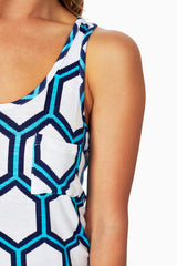 Blue White Printed Tank Top
