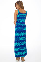 Blue Aqua Chevron Printed Maxi Dress