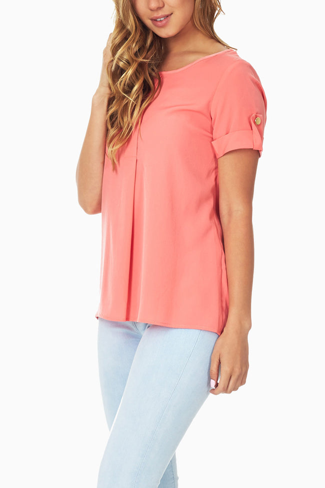 Coral Button Sleeve Blouse