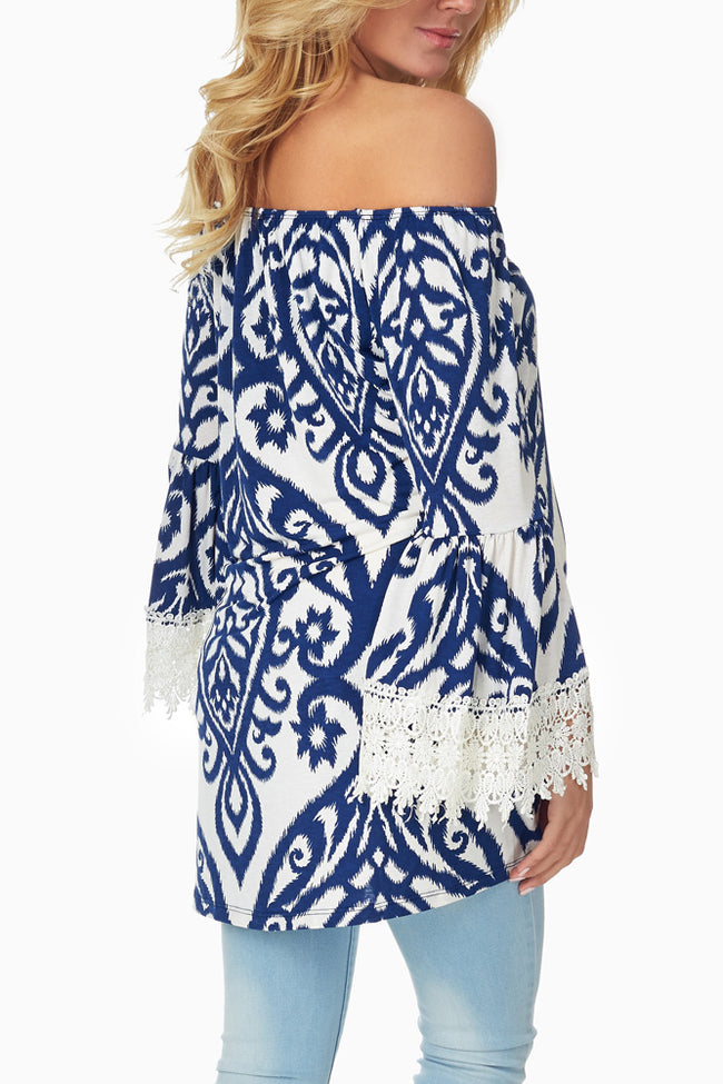 Blue White Printed Crochet Sleeve Maternity Tunic