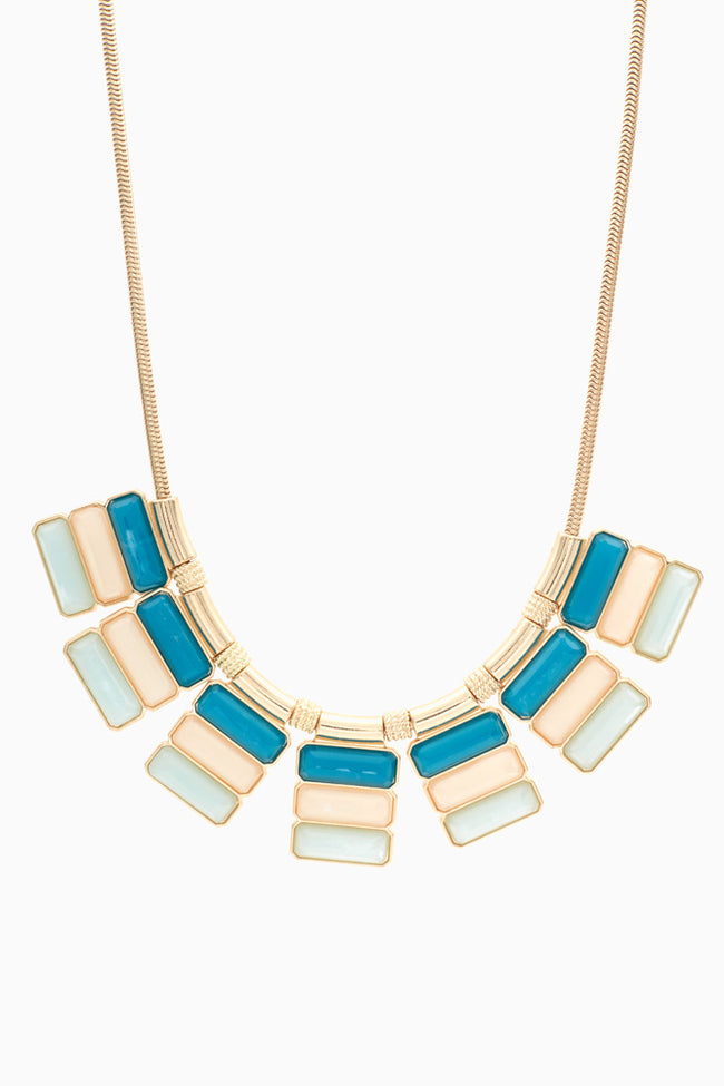 Pink Blue Teal Colorblock Jewel Necklace/Earring Set