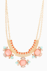 Pink Gold Jewel Bib Necklace/Earring Set