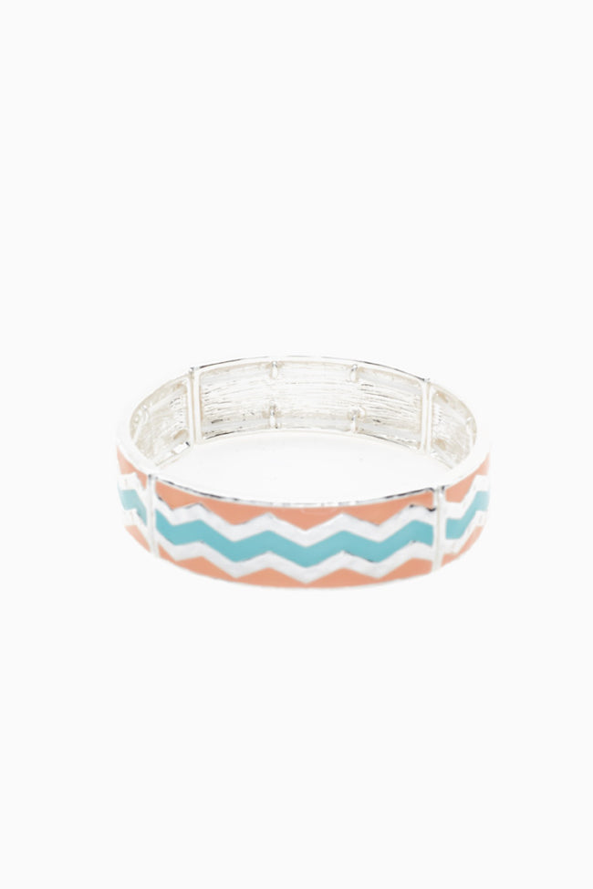 Silver Coral Aqua Chevron Bangle