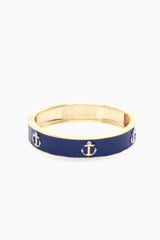 Navy Blue Enamel Anchor Accent Bangle