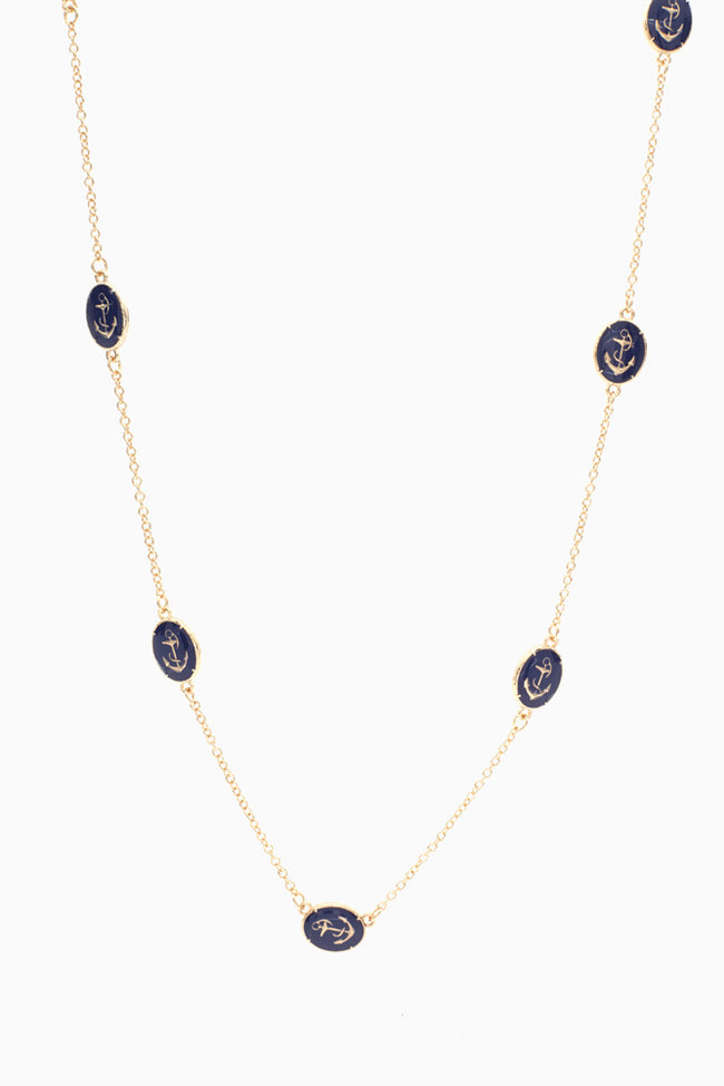 Gold Navy Blue Anchor Chain Necklace