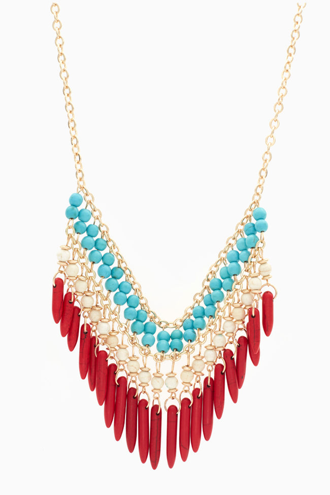Red White Blue Aztec Bib Necklace/Earring Set