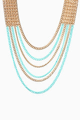 Gold Turquoise Layered Chain Necklace/Earring Set