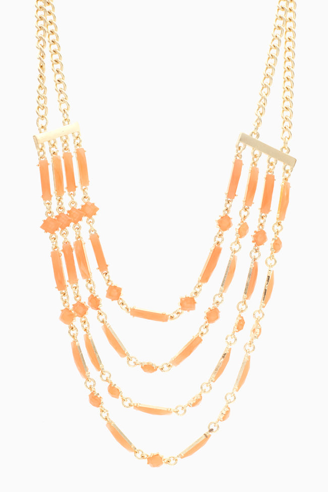 Gold Orange Accented Draped Necklace/Earring Set