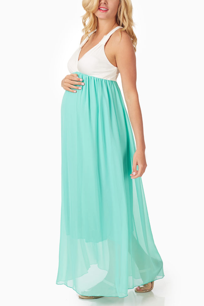 Mint Green Chiffon Colorblock Maternity/Nursing Maxi Dress
