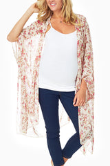 Ivory Floral Printed Sheer Maternity Maxi Cardigan